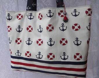 Summer shopping tote bag Handmade cotton sea bag Beach bag Reusable grocery bag Gift for sister Anchor bag Nautical Bag Weekend bag Book bag