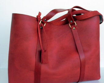 Large Leather Tote Bag - Distressed Leather Bag -  Large Red Leather Bag,Red Leather Tote,Red Simple Bag,