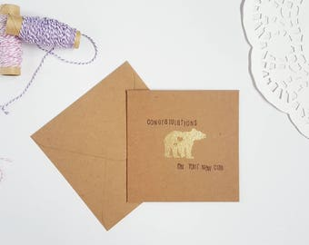 Congratulations On Your New Cub, Baby Bear Greeting Card, Blank Inside, Baby Shower, Card For New Mom, Congrats New Baby