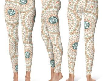 Mandala Print Leggings, Stretchy Yoga Pants, Orange and Green Bohemian Leggings, Pattern Tights