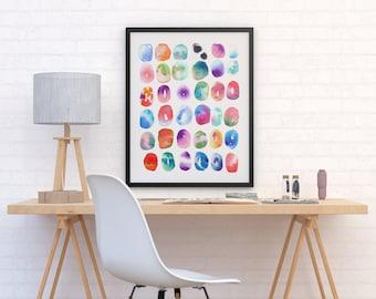 Aquarelle peinture coloré «Couleur jouer» par Jules Tillman Fine Art Print contemporain lumineux tableau cercles art mural