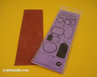 Blank Art Tags / Invoke Arts Collage Stamps / Unmounted Stamp Set