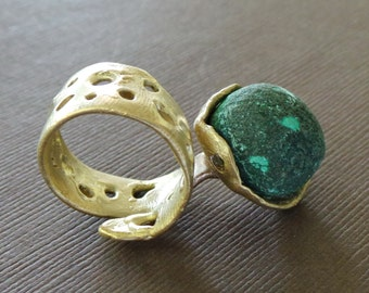 Raw Malachite Drusy Bronze Ring Byzantine Medieval  Game of Thrones Lost Treasure Organic Jewelry