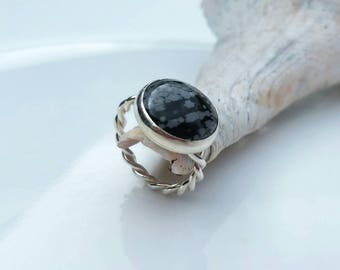 Snowflake obsidian with twisted shank ring, size 6.75