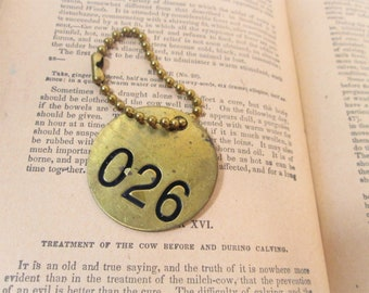 Vintage Brass Cattle Tag on Chain, Number 26, Round Cow Key