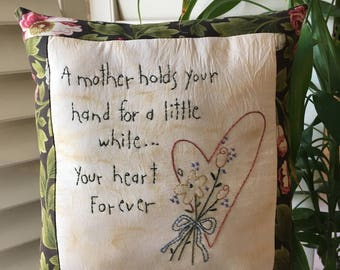 Mother's Pillow with Inspirational Verse , Hand Embroidered Accent Pillow , Room Decor , Hearts , Floral , Farmhouse, Country Room Accent