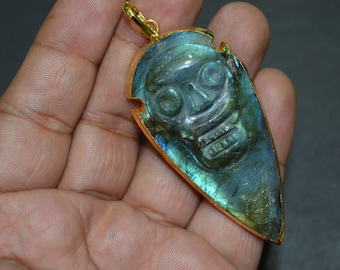 Natural Aztec Style Labradorite Skull Carved Arrowhead Pendant with 24 kt Gold Electroplated Edge-60 mm approx, Labradorite Skull Charm