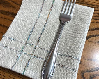 Napkins Handwoven Set of Four, Natural Colored  Cottolin Napkins, Serviettes, Woven Napkins, Dining Napkins, Napkin Set, Hand Woven
