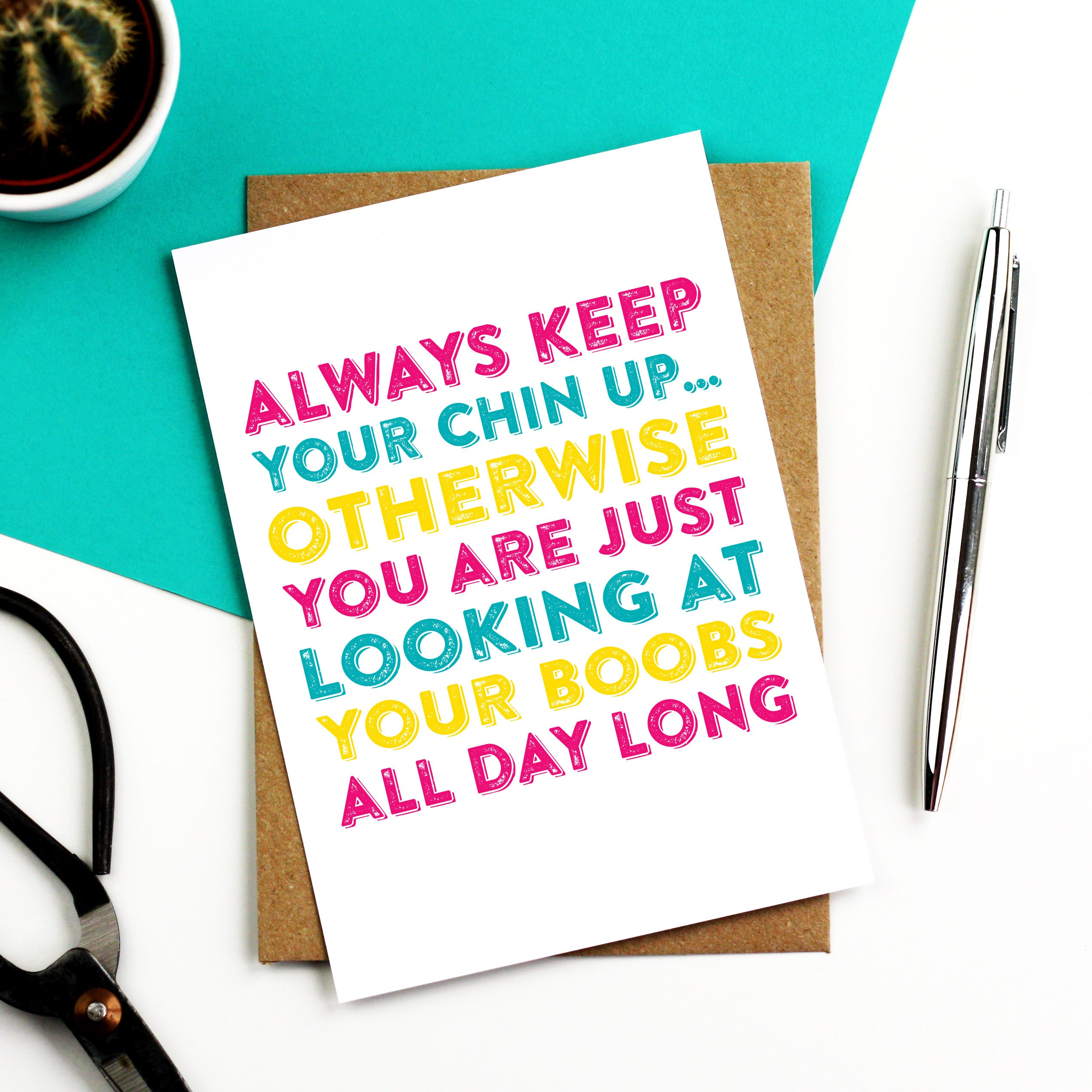 Keep Your Chin Up Get Well Greetings Card Letterpress