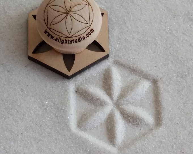 MINI Sand Stamp, Flower Design, Zen Garden Stamp