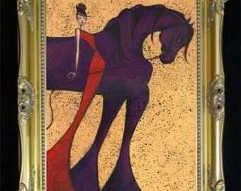 Woman and Horse Print, Black Horse Art Print,  Feminine Home Decor, Wall Hanging, Colorful Art Print, Arabian Horse, Friesian Horse, Shano