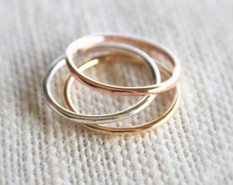 Tri Color Ring Set//Sterling Silver,14kt. Yellow & Rose gold filled Rings //Handcrafted