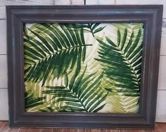Botanical Framed Bulletin Board Dark Gray Pin Board Palm Leaf Magnetic Board Xlarge Cork Board Many Sizes Memo Charcoal Frame