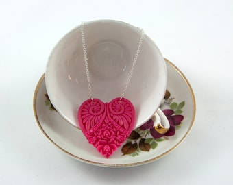 Pink Heart Necklace - Victorian Heart - Resin Heart Pendant