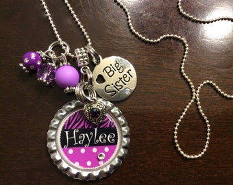 BIG SISTER NECKLACE for Kids, Little Big Sister Jewelry, Personalized Childrens Jewelry, Personalized Kids Jewelry, Bottle Cap Necklace