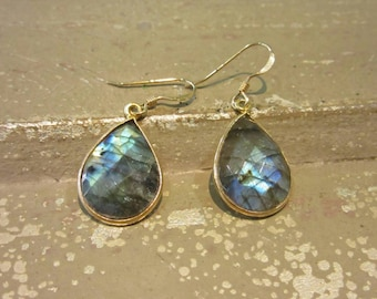 Labradorite Earrings - Gemstone Earrings - Blue Flash Earrings - Large teardrop earrings - Gold Labradorite -  Bezel Set - Gifts for her