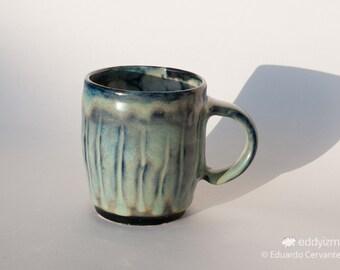 "3.5"" (9cm) Handmade Wheel Thrown Aqua Marine mug"