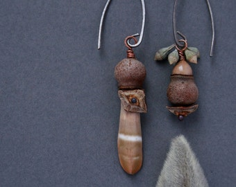 mismatch earrings with sea urchin spine, eucalyptus pods and pine cone petals - oxidized silver rustic jewelry - earthy