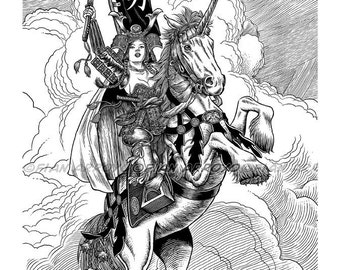 """UNICORN, Samurai, FANTASY Art, Lowbrow, Signed, Titled, Archival Fine Art PRINT-11""""x14""""-""""Thorns Of An Armored Rose"""" by Fian Arroyo"""