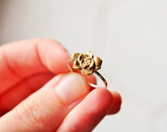 Bronze and Sterling Succulent Ring