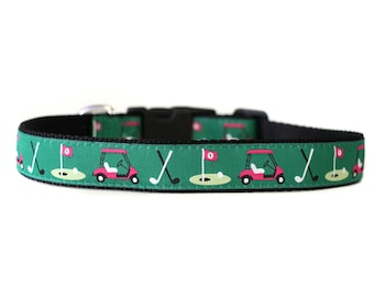 1 Inch Wide Dog Collar with Adjustable Buckle or Martingale in Golf Day