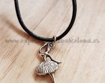 Leather ballerina, musical necklace, Orpheus Gift, Swan Lake, daughter necklace