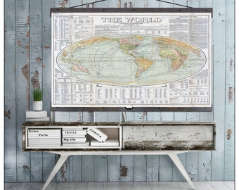 "Vintage World Map. World  Map on Canvas 1907. 60""w x 40""h,   Hanging Map, Antique Wall Map, Pull Down World Map"