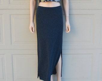90s Maxi Skirt Fitted Skirt With Side Slits Grey Soft Fabric 90s Clothing Long Skirt Small Petite Epsteam