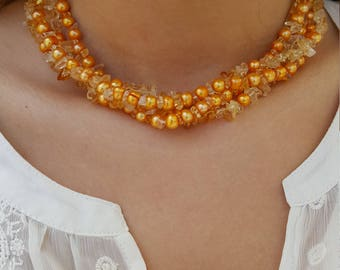 925 Yellow Orange Colored  Pearl Multi-Strand Necklace