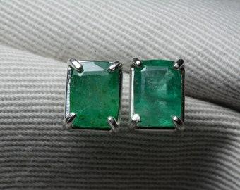 Emerald Earrings, 3.64 Carat Real Emerald Stud Earrings Appraised at 2,900.00 Sterling Silver May Birthstone Jewelry, Genuine Natural, Sale