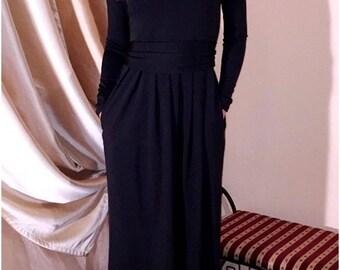 Maxi Black Dress/ Bridesmaid Evening Dress/ Long Sleeves Pockets Sash Full Length