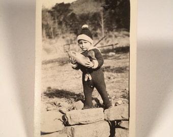 A Boy and His Duck Vintage Snapshot Photo, Original 1920s Amateur Photograph, Vintage Fashion