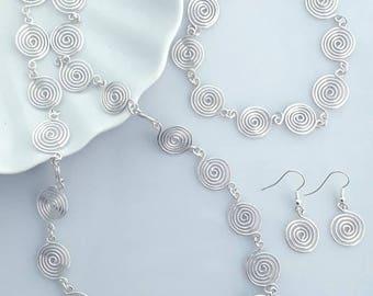 Silver Spiral Jewellery Set necklace bracelet and drop earrings in choice of Silver grades women's gift ideas jewellery open spirals popular