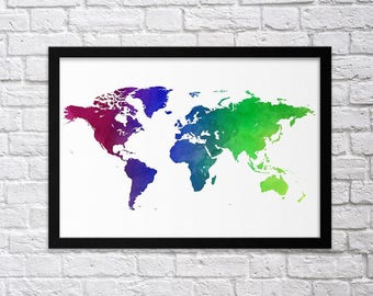 Minimal world map etsy colorful world map poster print framed or unframed poster print world map affiche gumiabroncs Images