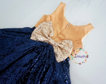 Navy blue and gold flower girl dress Gold flower girl dress Sequin flower girls dress Navy blue flower girl dress Flower girl dress wedding