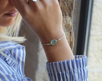 Silver cord Eden chalcedony gemstone bracelet