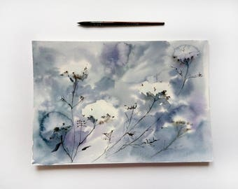 Abstract Painting Flowers watercolor ORIGINAL Watercolor Painting  Floral art