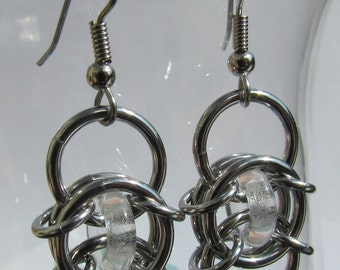 Chain Maille Earrings, Clear Glass Earrings, Stainless Steel Jump Ring Jewelry, Glass Jewelry