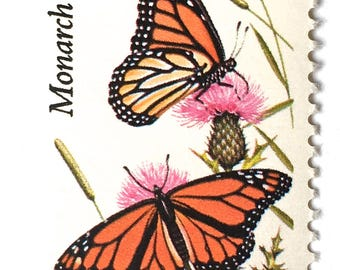 10 Unused Vintage Butterfly Stamps // Monarch Butterfly Postage Stamps // Vintage Butterflies for Mailing Invitations and Cards