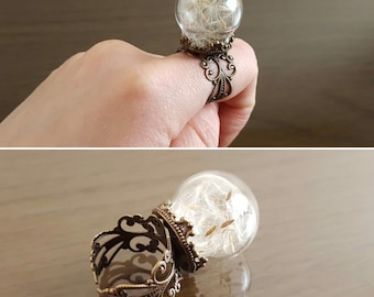 Dandelion seed ring, Make a Wish flower ring, antique bronze filigree ring