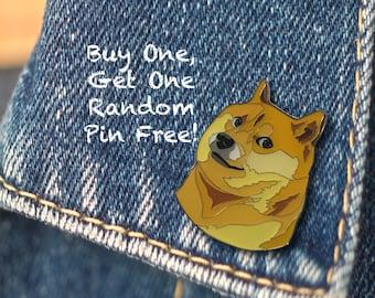 BUY 1, GET 1 Random Pin Free! Doge Meme Enamel Pin Shiba Inu Lapel Pin Doggo Internet Meme Pin Badge Hard Enamel Pin Funny Pin Meme Pin Dog