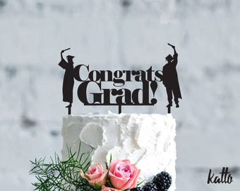 Customizable Graduation cake topper- Silhouette Graduate Cake Topper- Personalized Graduation Cake Topper - Grad party cake topper