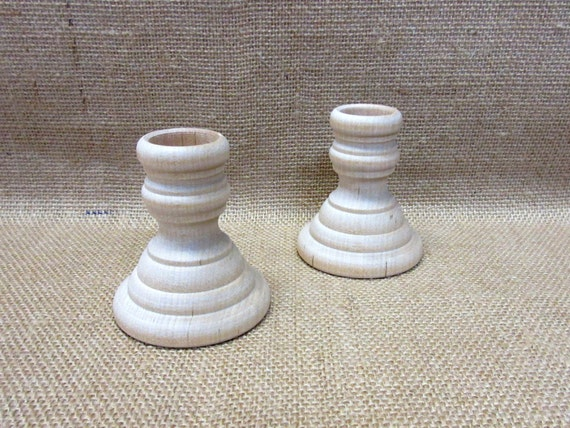 Wood Candlesticks - Unfinished 2-1/4 Inches French Country Style - Set Of 2