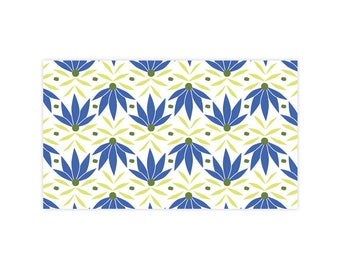 Blue Daisies - Little Notes - Set of 10 Enclosure Cards, Envelopes, Gold Closure Stickers - Daisies - Garden - Pattern - (LN402)