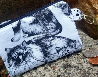 Cat Coin Purse, Kitty Zipper Pouch, Cat Earbud Pouch, Kitty Zipper Wallet, Girls Coin Purse, Lunch money pouch, credit card pouch