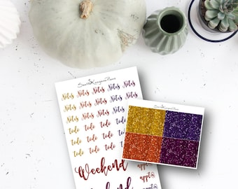 Glitter Words and Headers (64 Planner Stickers) || SeattleKangarooPlans