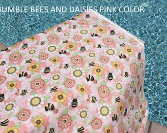 Bumble Bees and Daisy Flowers Pink Color by Henry Glass Quilting Premium Cotton