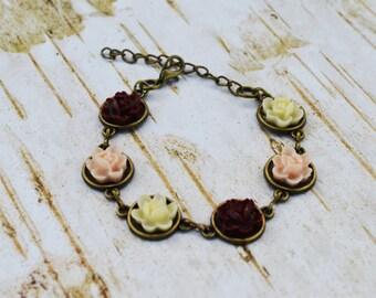 SALE - Light Pink Burgundy Ivory Flower Bracelet, Vintage Style Bracelet, Gift For Her