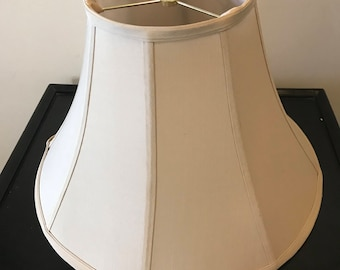 Large Vintage Pair of Tan Bell Shape Lampshades Large Shabby Chic Boho Style Silk Shade  Boudoir