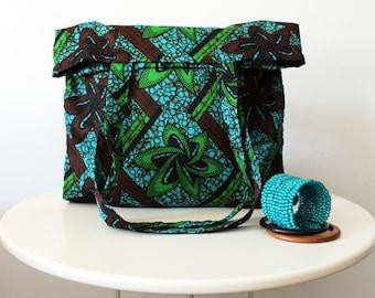 African print Shopping bag, turquoise/green/brown bag, grocery bag, perfect gift, woman bag